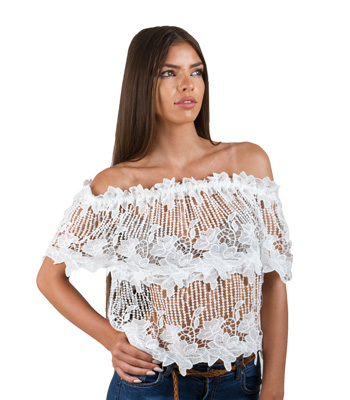 Bardot lace shirt (White)