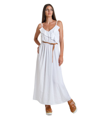 Maxi ruffle belted dress (White)