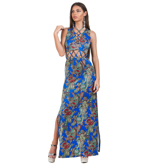 Lace up maxi dress with cut our in green paisley print