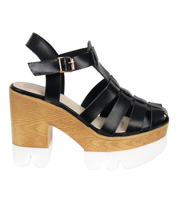 Heeled sandals with black straps