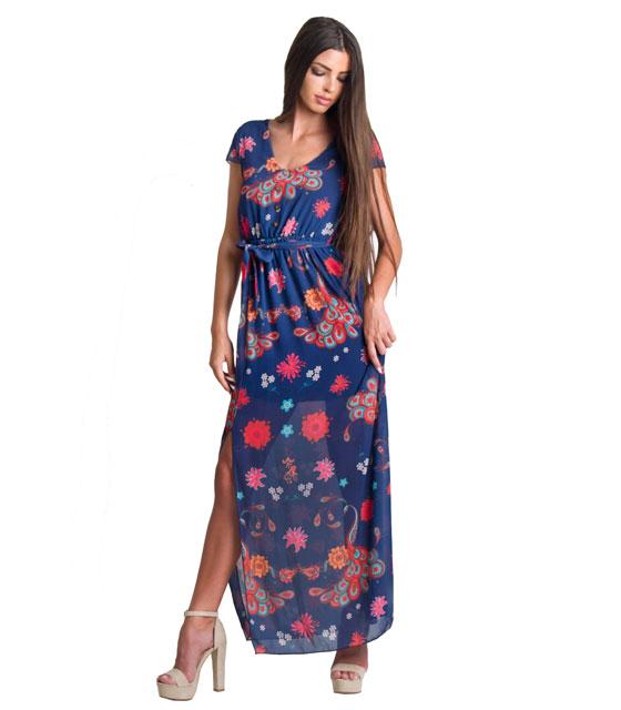 Φόρεμα φλοράλ με άνοιγμα στο πλάι