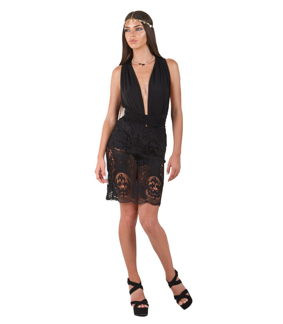 Multyway dress in lace (Black)