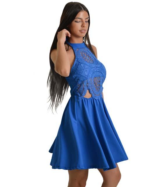 Φόρεμα εξώπλατο με τοπ δαντέλα Μπλε ρούχα   φορέματα