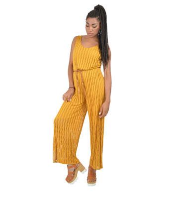 Ολόσωμη ζιπ κιλότ Μουσταρδί (με ζώνη) ρούχα   ολόσωμες φόρμες