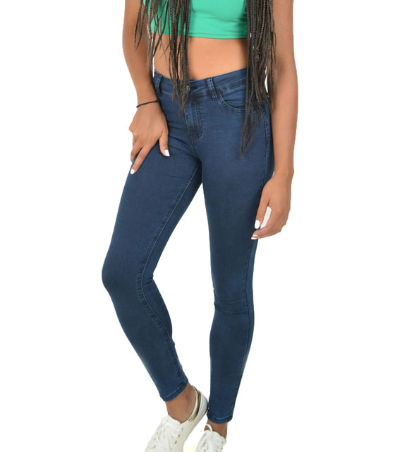 High waist stretch dark wash jeans