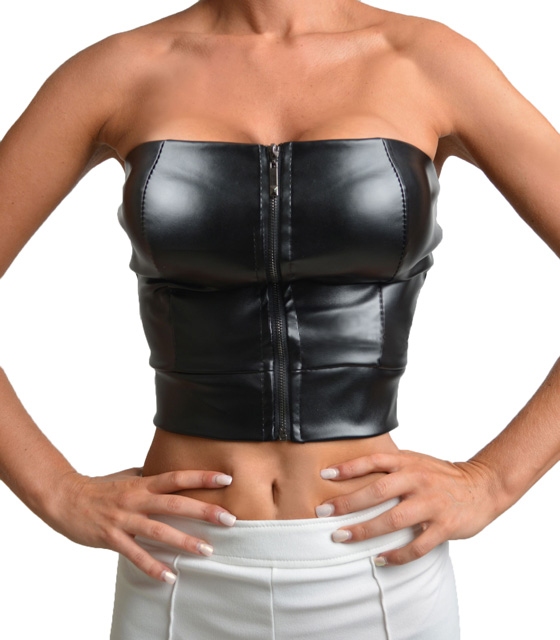 Faux leather crop top with front zip (Black)