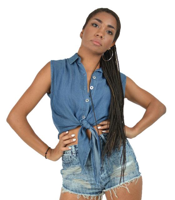 Τζίν πουκάμισο με δέσιμο μπροστά (Μπλέ σκούρο)