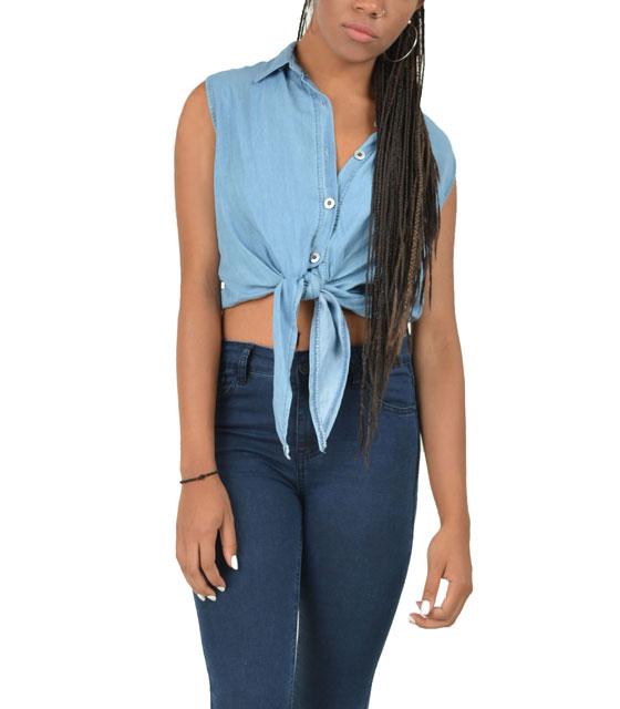 Τζίν πουκάμισο με δέσιμο μπροστά (Μπλέ ανοιχτό)