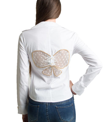 Butterfly pattern shirt (White)