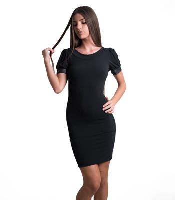 Εξώπλατο φόρεμα με φιόγκο πίσω και λεπτομέρειες δερματίνη