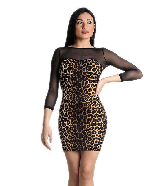 Μαύρο μίνι φόρεμα με λεοπάρ pattern