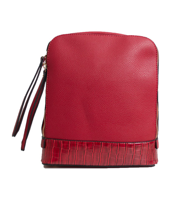 Multiway bag with croco details (Red)