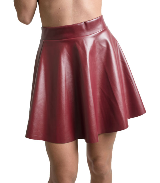faux leather klos skirt (Burgundy)