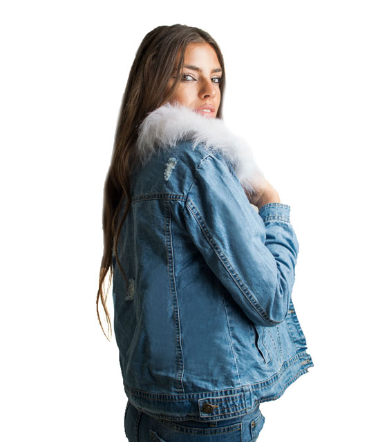 Denim jacket with scars and removable coat