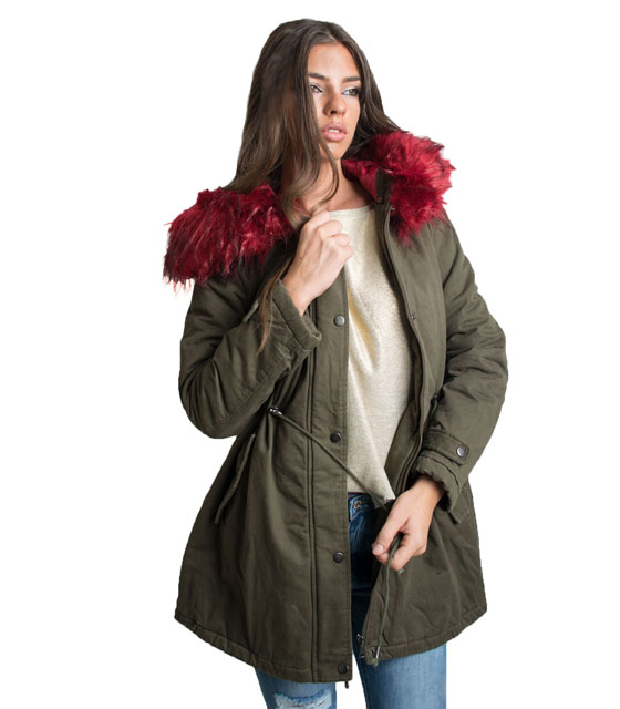 Parka with detachable faux fur (Red)