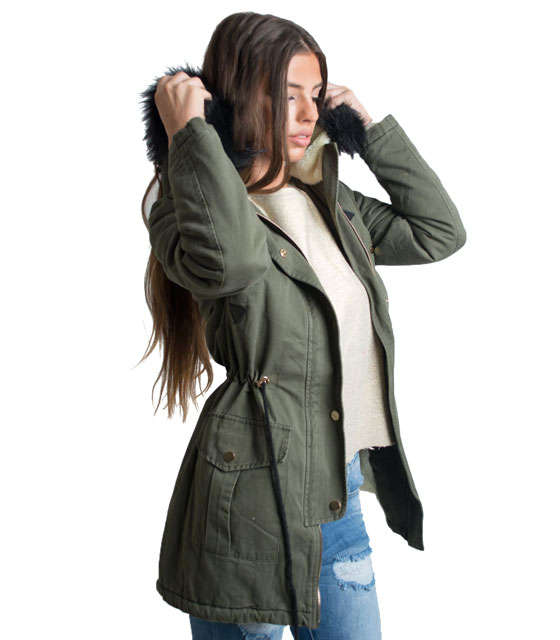 Parka with detachable faux fur (Black)