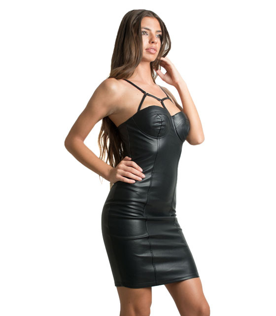 Faux leather bodycon dress (Black)