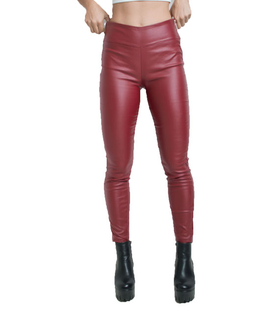 Faux leather trousers burgundy