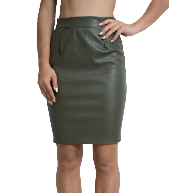Faux leather skirt with zip (Khaki)