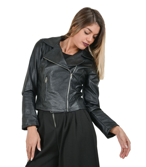 Faux leather jacket with zipper
