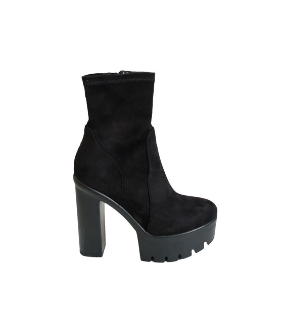 Suede boots with zipper (Black)
