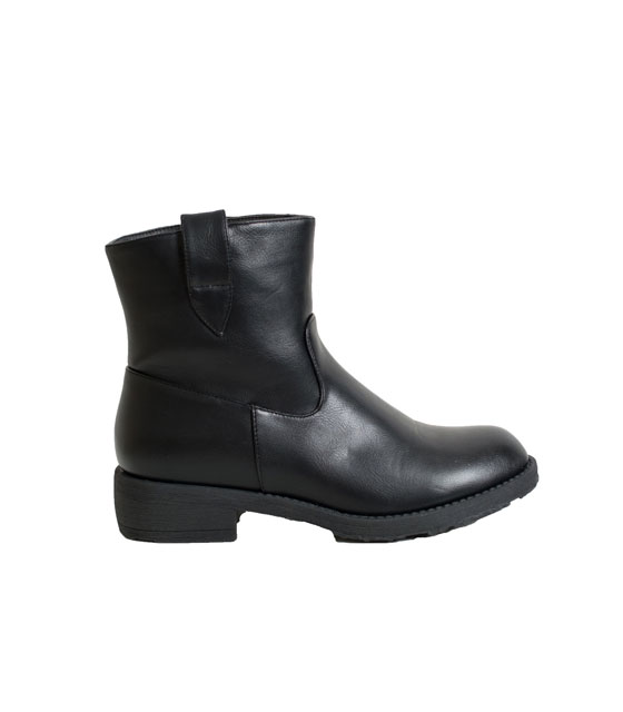 Faux leather flat boots (Black)