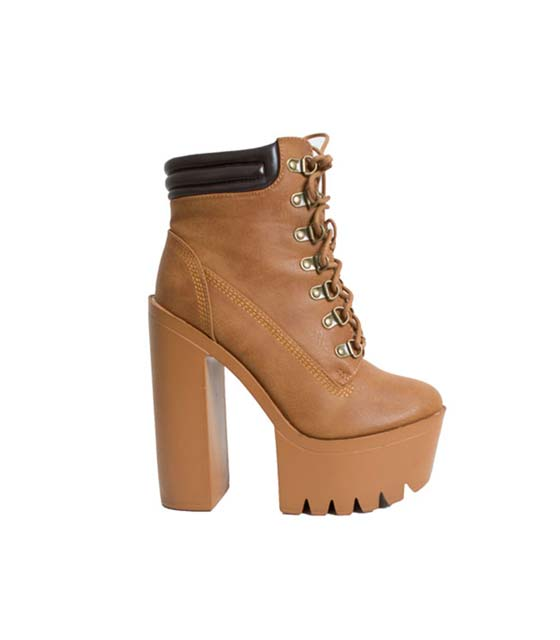 Lace up booties (Camel)