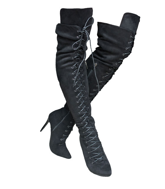 Lace up heeled boots (Black)