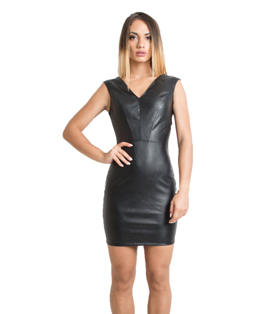Faux leather bodycon dress with zip (Black)