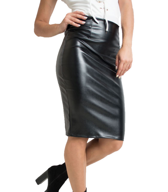 Faux leather skirt (Black)