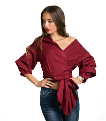 Burgubdy ruffled sleeves shirt