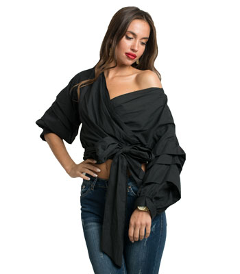Black ruffled sleeves shirt