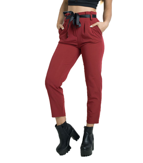 Belted trousers (Burgundy)