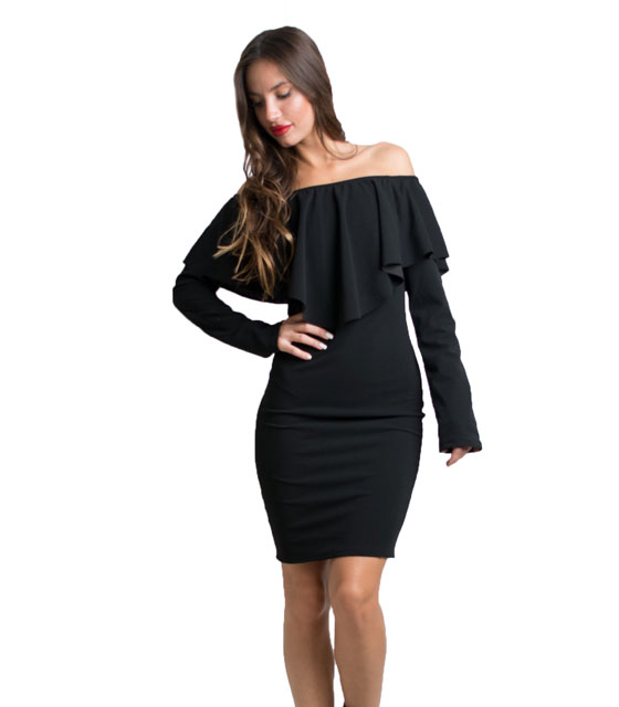 Ruffled bardot dress (Black)