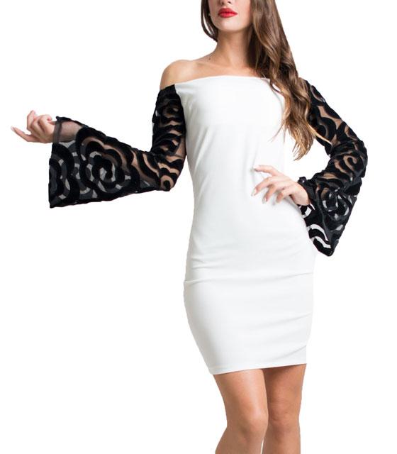 Bardot dress with velvet sleeves White
