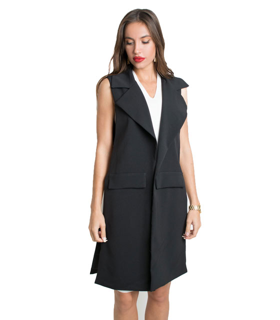 Sleeveless blazer with side chains (Black)