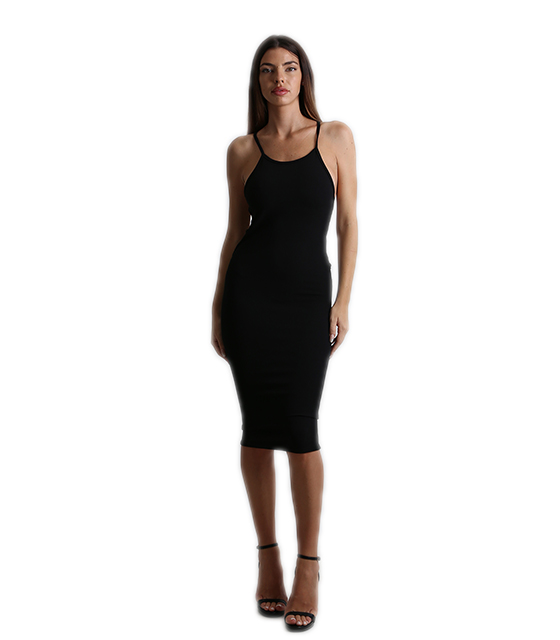 Side cut out bodycon dress (Black)