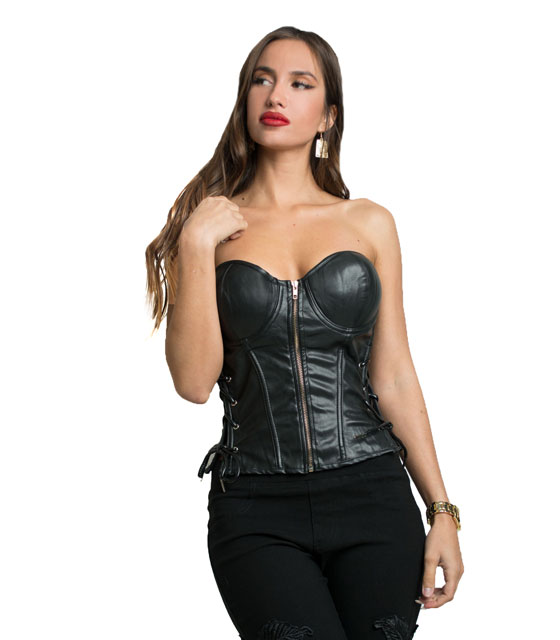 Faux leather front zip bustier crop top Black