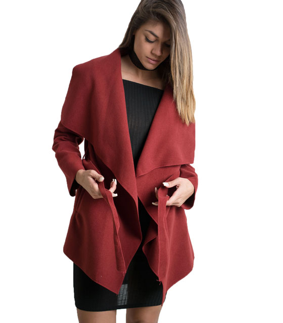 Μπορντό παλτό κοντό με ζώνη ρούχα   πανωφόρια   σακάκια   παλτό