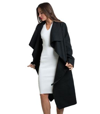 Παλτό με ζώνη Μαύρο