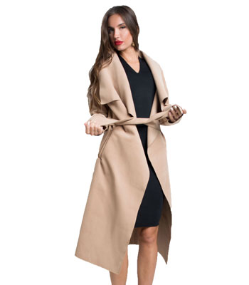 Παλτό με ζώνη Κάμελ