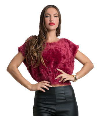 Faux fur sleeveless top (Burgundy)