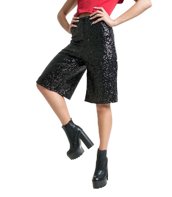 Ζιπ κιλότ με παγιέτες (Μαύρο) ρούχα   bottoms   παντελόνια