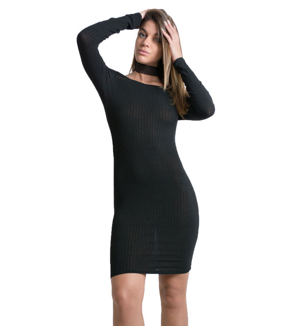Bardot knitted dress (Black)