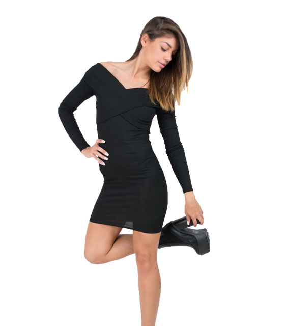 Cross back bardot dress (Black)