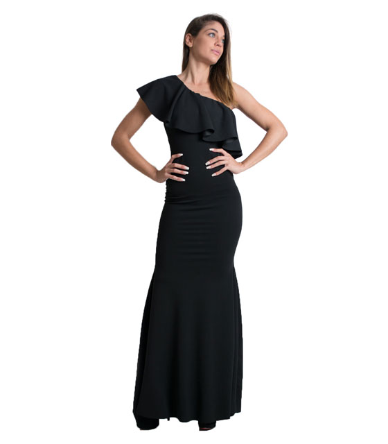 One shoulder maxi ruffled dress (Black)