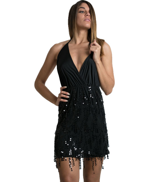 Sequin open back halter neck dress (Black)