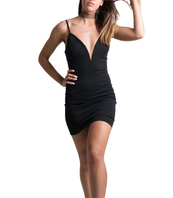 Deep plunge cross back dress black