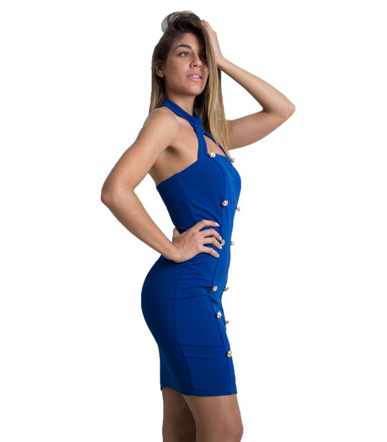Halter neck dress with buttons (Blue)