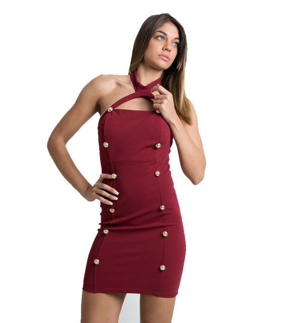 Halter neck dress with buttons (Burgundy)